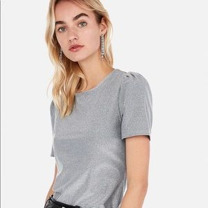 Express silver glitter sparkle top